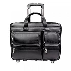 Leather Patented Detachable Wheeled Laptop Bag 17