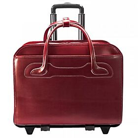 Leather Patented Detachable - Wheeled Ladies' Laptop Briefcase 15