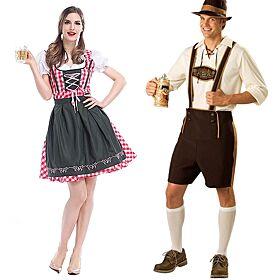 Man Women Oktoberfest Costume Dirndl Lederhosen Outfit Traditional Bavarian