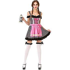 Oktoberfest Beer Maid Women's Halloween Costume Sexy Bar Maid Lederhos
